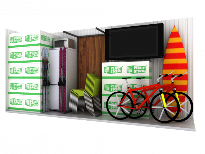 Storage unit - boxes, table, bicycle, TV