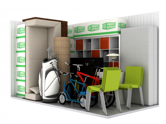 Storage unit - chairs, bicycle, bookcase, boxes