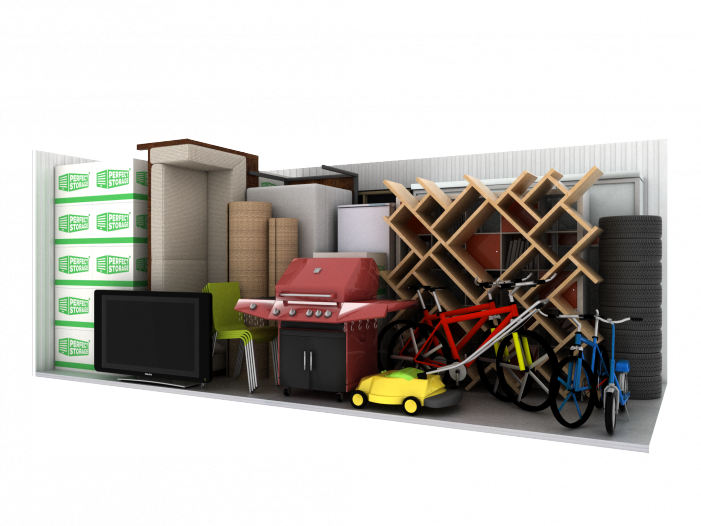 Storage unit - boxes, boookcase, chairs, sofa, lawn mower